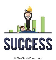businessman showing success