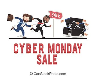 employee towards cyber monday sale illustration design
