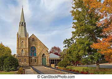 St. Paul's Lutheran Church in the evening in Hahndorf, South Australia during Autumn season
