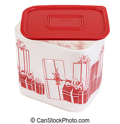 Plastic container with red lid and pattern on white...