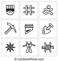 Vector Set of Prison Icons - Criminal, Bars, Runner,...