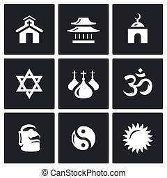 Vector Set of Religion Icons Catholic, Buddhism, Islam,...