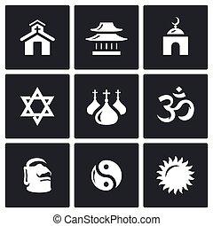 Vector Set of Religion Icons. Catholic, Buddhism, Islam,...