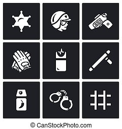 Vector Set of Police Icons. Sheriff, Law, Weapon,...