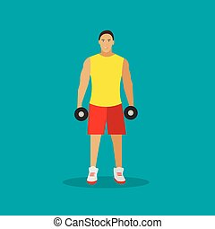 Healthy lifestyle concept vector illustration in flat style. Gym fitness and sport icons. Man with dumbbells.