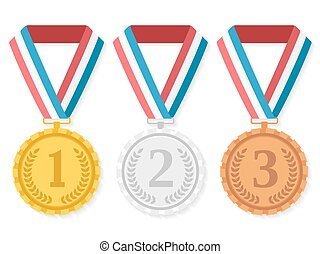 Medals - Golden, silver and bronze medals,