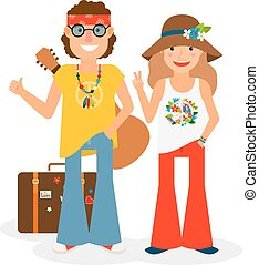 Hippie Couple Hitchhiking Vector Illustration - Hippie...