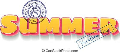 Summer vacation themed lettering with travel blue stamps