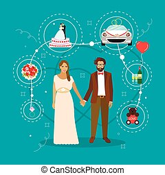 Just married couple with wedding attributes concept vector illustration. Design elements and icons in flat style