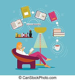 Young woman at home sitting on modern chair, reading book and drinking coffee. Vector illustration in flat style design