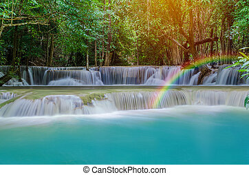 Waterfall in deep rain forest jungle Huay Mae Kamin...