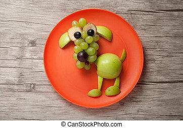 divertido, perro, hecho, de, frutas, en, placa, y, tabla