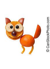 divertido, gato, hecho, de, frutas, en, blanco, Plano de...