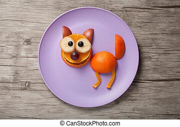 placa, hecho, de madera, escritorio, gato, frutas