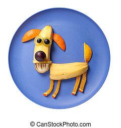 feliz, perro, hecho, de, frutas, en, azul, placa