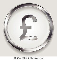 Concept metallic pound symbol logo button - Concept metallic...