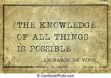 know all DaVinci - The knowledge of all things is possible -...