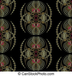 Seamless pattern art deco graphic ornament. Floral stylish modern background, repeating texture with waves