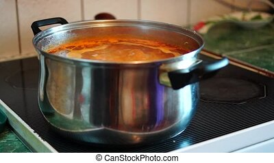 Boiling soup on kitchen stove - Boiling borsch soup on...