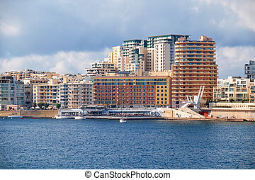 The view of Sliema city skyline from Valletta across...