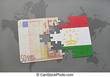 puzzle with the national flag of tajikistan and euro...