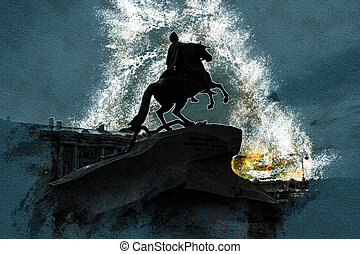 The Bronze Horseman - equestrian statue of Peter the Great...