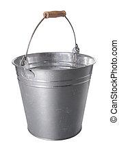 galvanizado, metal, balde