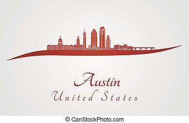 Austin V2 skyline in red - Austin skyline in red and gray...