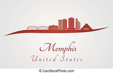Memphis V2 skyline in red - Memphis skyline in red and gray...