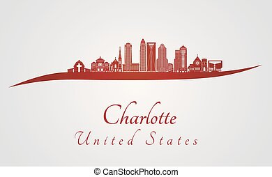 Charlotte skyline in red and gray background in editable...