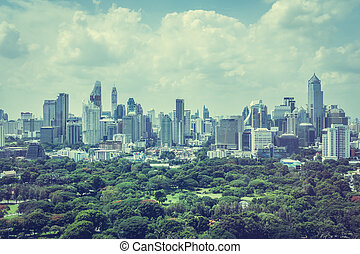 Bangkok city - Beautiful Bangkok city skyline around...