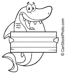 Outlined Shark Holding A Blank Sign