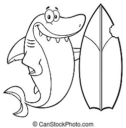 Outlined Shark With Surfboard