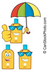 Bottle Sunscreen Collection Set - Bottle Sunscreen Cartoon...