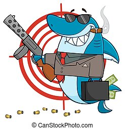 Smiling Shark Mobster Character - Smiling Shark Mobster...