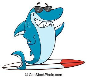 Smiling Blue Shark Surfing - Smiling Blue Shark Cartoon...