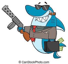 Shark Holding A Big Gun - Smiling Shark Gangster Cartoon...