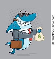 Boss Shark Holding A Money Bag - Smiling Business Boss Shark...