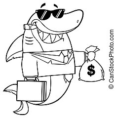 Outlined Shark Holding A Money Bag - Black And White Smiling...