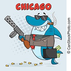 Shark Mobster Holding A Big Gun - Smiling Shark Mobster...