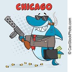 Shark Mobster Holding A Big Gun - Smiling Shark Mobster...