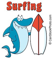 Shark With Surfboard And Text