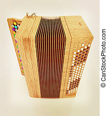Musical instrument - retro bayan 3D illustration Vintage...