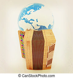 Musical instrument - retro bayan and Earth 3D illustration...