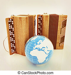 Musical instruments - retro bayans and Earth. 3D...
