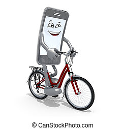 smartphone with arms and legs riding a bicycle, 3d...
