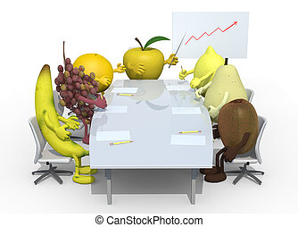 fruits business meeting - many fruits meeting around the...