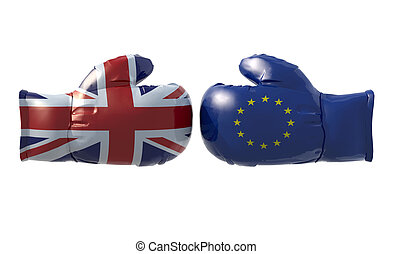Boxing gloves with UK and Euro flag, isolated 3d...
