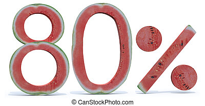 80 percent written made with watermelon, 3d illustration