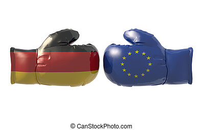 Boxing gloves with German and Euro flag, isolated 3d...